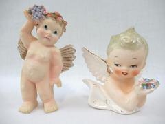 Lot of 2 Vintage Cherub Angel Figurines Porcelain Flowers Hand Painted Wings
