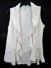 Logo Instant Chic Cardigan Shawl Sleeveless Ivory Sheer Trim Women's Size M