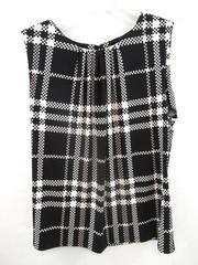 Calvin Klein Blouse Top Shirt White Black Geometric Pattern Women's Size Large