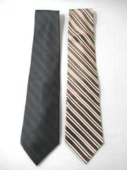 Lot of 2 Pronto Uomo Ties Brown White Black Gray Stripes Silk Men's