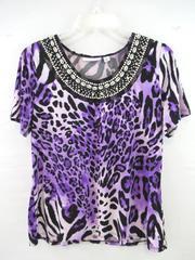 Susan Graver Blouse Top Purple Black Shells Beads Leopard Print Women's Size S