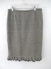 Doncaster Skirt Black White Lined Houndstooth Pattern Ruffle Hem Women's Size 10