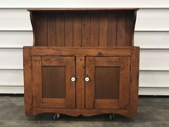 Antique Dry Sink Basin High Back Wood Cabinet Brown Bar Early 1900s American