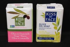 Lot of 2 Kiss My Face Olive Oil Soap Bars Chamomile Green Tea Greece