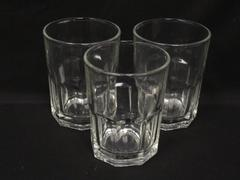"""Lot of 3 Libbey Crisa Boston Rocks Glasses 4"""" Clear 12.5 Ounces Embossed 8 Sided"""