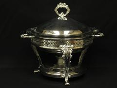Vintage 4 Piece Silver Plated Chafing Anchor Hocking #1038 Warming Dish Candle