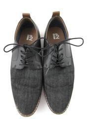 R2 Paxton Dress Shoes Black Brown Faux Leather Lace Up Canvas Men's Size 10.5