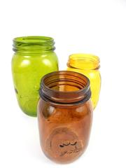 Lot of 3 Frutta Del Prato Canning Jars Quart 2 Pints Green Amber Brown