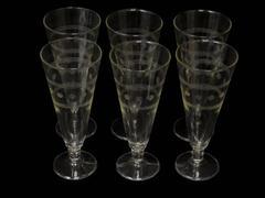 "Set of 6 Etched Crystal Footed Pilsner Beer Glasses Dot And Bands Pattern 7.5"""