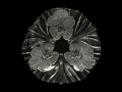 Mikasa Luncheon Plate Hibiscus Frost 9.25 Inch Clear Glass Three Flowers