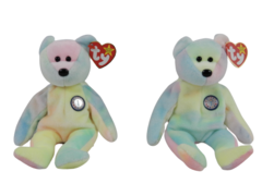 Lot of 2 TY Beanie Babies Birthday Bear 1999 Tie Dye Retired B.B. Bear