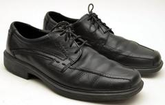 ECCO 49784 Casual Black Leather Lace up Oxfords Square Toe Men's 10 / EUR 43