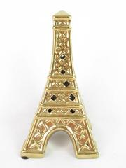 Ceramic Eiffel Tower Earring Stand Gold Tone 7 Inches