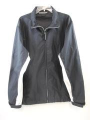 Nike Windbreaker Jacket Coat Black White Zip Pockets Full Front Zip Men's Large