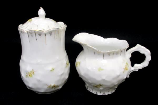 Beautiful White Yellow Rose Gold Gilt Creamer Pitcher Lidded Sugar Bowl Set