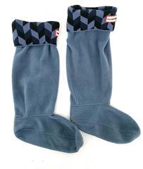 HUNTER Fleece Welly Boot Liners in Geo Dazzle Black Navy Blue Women's 5-7 US