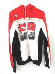 58 Sic Hoodie Sweatshirt Red Black White Gold Motogp Men's Size M