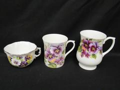 Lot of 3 Mismatched Tea Cups Pansy Pattern Bone China England