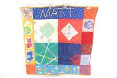 Vintage Handmade Baby Name Quilt Matt Square Multi Color Flawed Need Repair