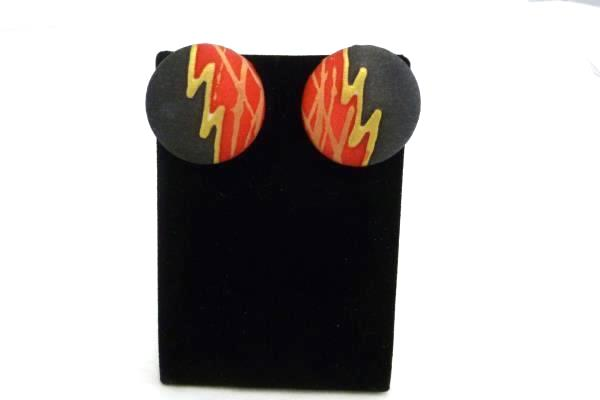 Set of Jewelry 1980's Style Art Deco Necklace Earrings Bracelets Black Red Gold