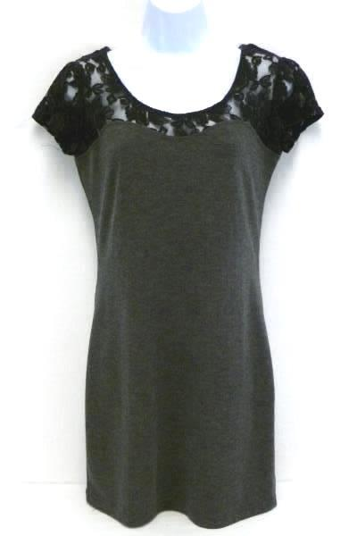 Romy Gray Black Lace Short Sleeve Body Con Stretch Mini Dress Woman's M
