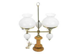 VTG.Brass And Hobnail Milk Glass Globe Double Arm Desk Table Lamp With Wood Base