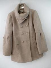 Ann Taylor Loft Coat Jacket Beige Metallic Gold Thread Wool Blend Women's Sz 10