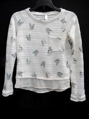 Xhilaration Sweater Shirt White Black Off-White Lining Dog Pattern Girls Size M