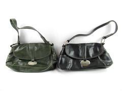 Lot of 2 Nine West PVC Faux Leather Shoulder Bag Purse Green Black