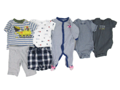 Lot of 7 Baby Boy Clothing Tops One Pieces Shorts Size 3 Months Blue Grey