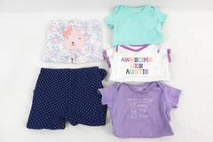 Lot of 5 Baby Girl's Clothes Items 3 One Pieces Bodysuit 2 Pants Size 3M 6M