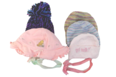 Lot of 7 Baby Girl Hair Accessories Knit Bonnet Headbands Classic Pooh