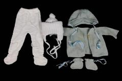 Lot of Vintage Baby Knit Crochet Jacket Hats Pants Booties Flawed White Green