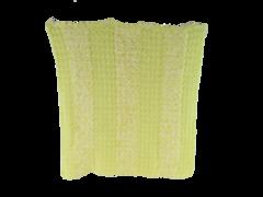 Vintage Homemade Baby Blanket Knit Crochet Yellow White Soft