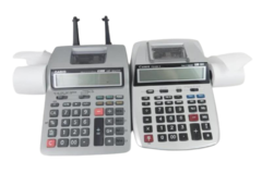 Lot of 2 Printing Calculators for Parts Repair Casio Tax & Exchange Canon Clock