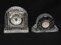 Lot of 2 Cut Crystal Quartz Clocks Roman Numerals Small