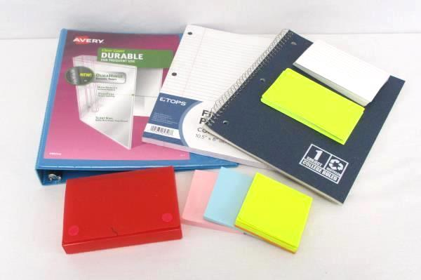 Back To School Supply Lot 1 Inch Avery Binder Index Cards Notebook Paper