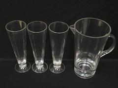 Acrylic Or Plastic Beer Pitcher With 3 Pilsner Beer Glasses