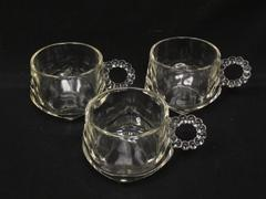 Lot of 3 Vintage Hazel Atlas Ball and Rib Glass Punch Cups Clear Replacements