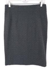 LOFT Gray Diamond Pull On Pencil Skirt Elastic Waist Texture Stretch Women S