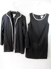 Coldwater Creek Dress Jacket Set Linen Sleeveless Black White Women's Size 6