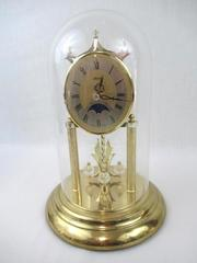 Vintage Hermle Glass Dome Clock Gold Mantle Crysal Moon Phase Battery Germany