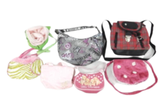 Lot of 7 Kids Play Purses Bags Dress Up Pink Puppies Justice Roses Backpack