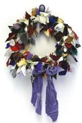 Handmade Rag Scrap Wreath Displayed in NY Lower East Side Tenement Museum