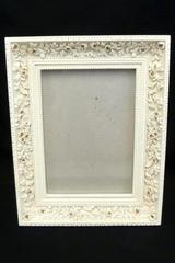 "Heavy Picture Frame Inlaid Intricate  Design 5"" x 7"" Off White With Glass"