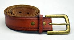 LEATHER ISLAND by Bill Lavin Brown Distressed Belt Lg Antique Brass Buckle Sz 32