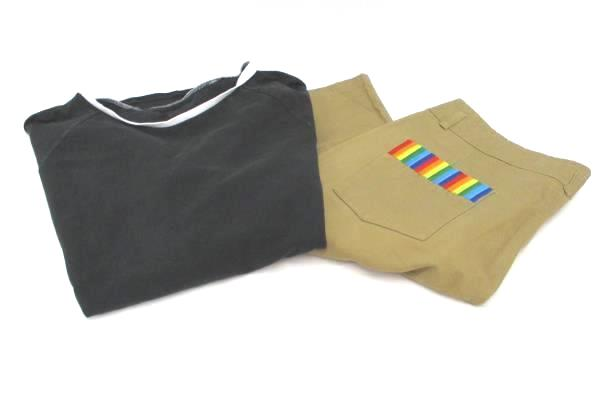 Women's Outfit On The Byas Black T-Shirt Hi Panda Shorts Rainbow Pocket Size L