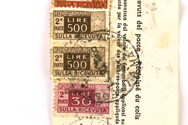 Lot Of Five Vintage Postage Stamps From Italy With A Parcel Receipt Dated 1966