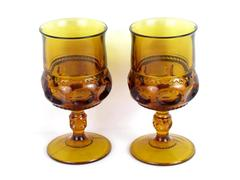 """Lot of Two Vintage Colony Crown Amber Water Goblets 5.75"""""""