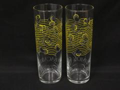"""Set of 2 Bacardi Limon Rum Cocktail Collins Glasses 7"""" Etched Yellow Wavy Lines"""
